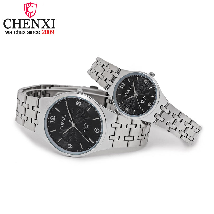 CHENXI Brand Original Luxury Famous Full Steel Couple Watches Lovers