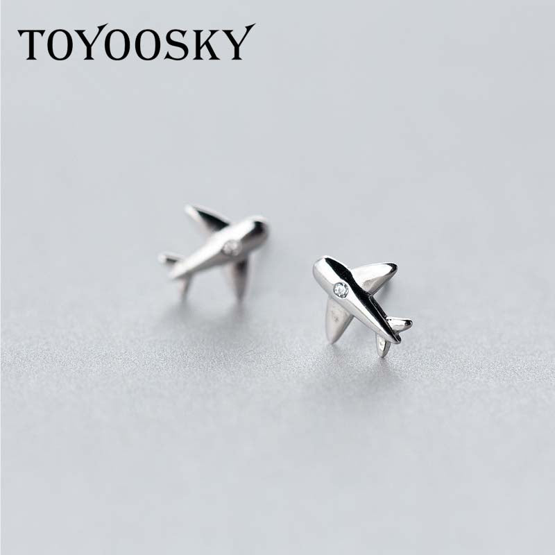 Real. 925 Sterling Silver Aircraft Airplane Plane Stud Earrings