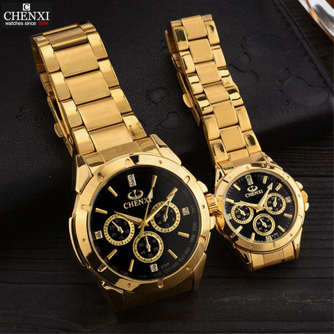 CHENXI Lovers Quartz Watches Women Men Gold Wrist Watches Top Brand Luxury Female Male Clock IPG Golden Steel Watches PENGNATATE