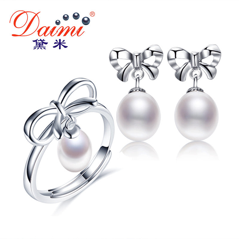 DAIMI Bowknot Jewelry Sets 7-9mm Freshwater Pearl Set Earrings Ring