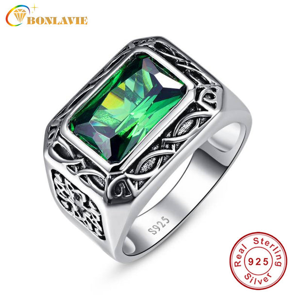 Fine 6.8Ct Nano Russian Emerald Ring For Men Solid 925 Sterling Sliver