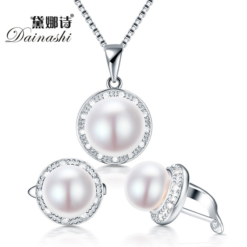 Dainashi real freshwater pearl jewelry set with slide pendant and hoop