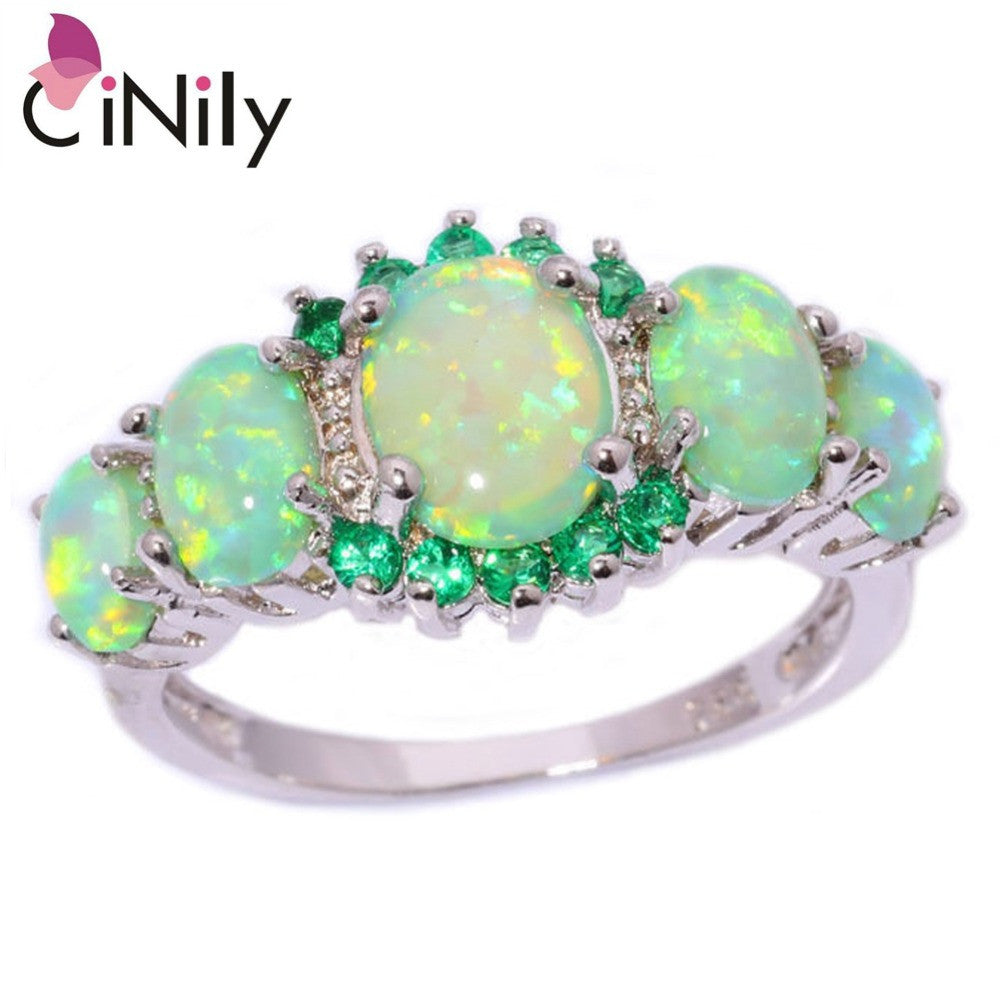 CiNily Created Green Fire Opal Crystal Silver Plated Ring Wholesale