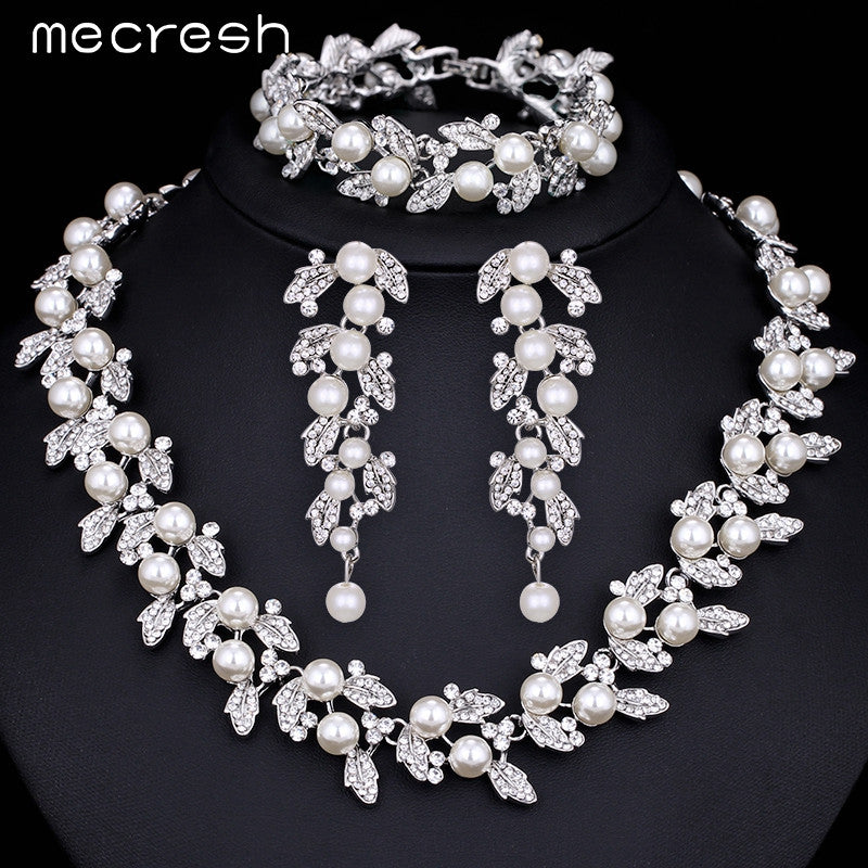 Mecresh Simulated Pearl Bridal Jewelry Sets Silver / Gold-Color