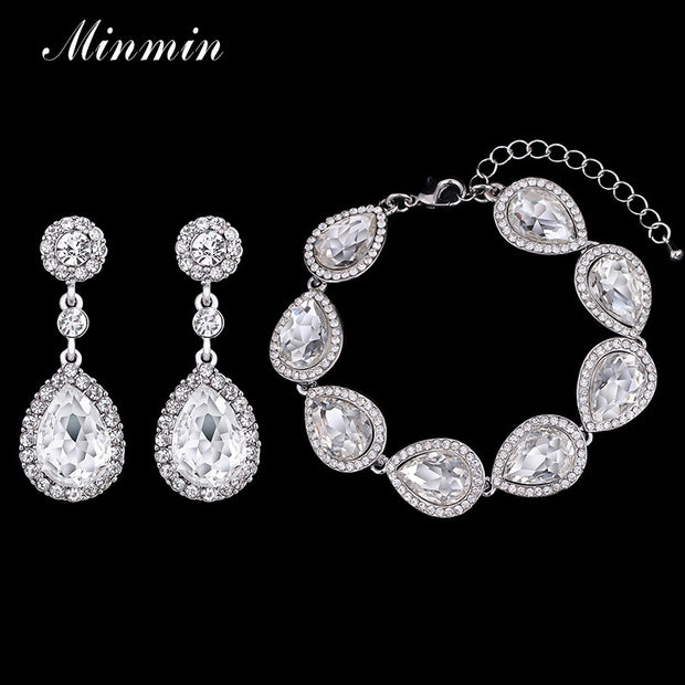 Minmin 3 Colors Bridal Jewelry Sets Long Earrings with Bracelet for