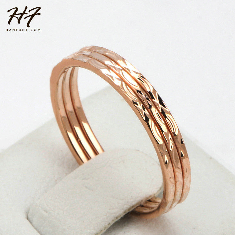 Concise Three Rounds Finger Rings Rose Gold Color Fashion Brand Ring