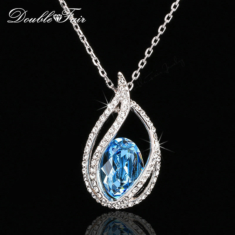 Double Fair Unique Cubic Zirconia Big Blue Crystal Necklace & Pendants