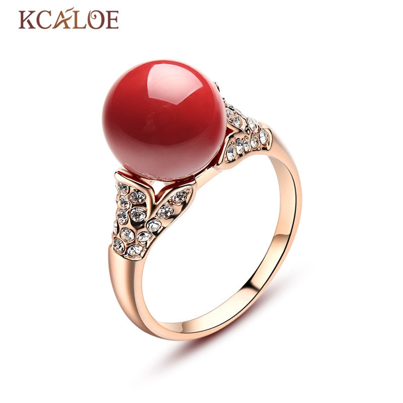 KCALOE Red Artificia Coral Rings Austrian Crystal Engagement Women