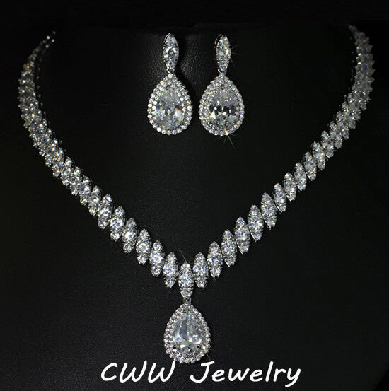 CWWZircons High Quality Cubic Zirconia Wedding Necklace And Earrings