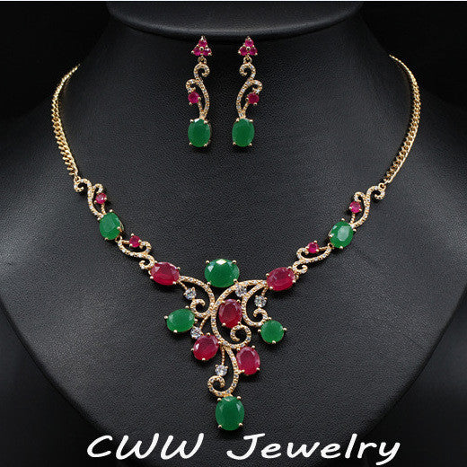 CWWZircons Vintage Yellow Gold Color Natural Red And Green Created