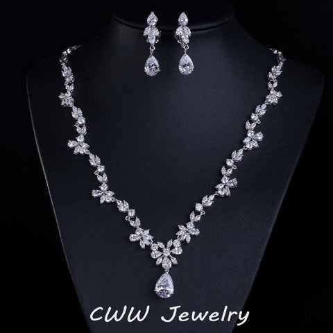 CWWZircons 2017 New Wedding Costume Accessories Cubic Zircon Crystal Bridal Earrings And Necklace Jewelry Sets For Brides T123