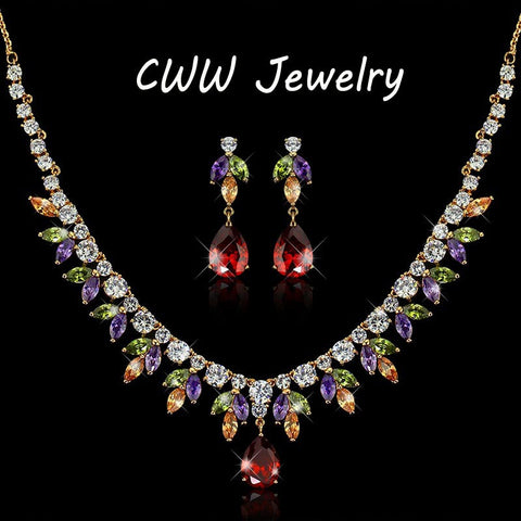 CWWZircons Elegant Shape Gold Color Colorful CZ Crystal Rhinestone Necklace Earrings Womens Big Costume Jewelry Sets T068