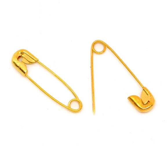 Doreen Box Lovely 500 Gold color Safety Pins Findings 19x5mm (B14860)
