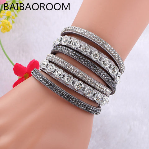 New Multilayer crystal Wrap bracelet Rhinestone deluxe bracelet Double wrap leather bangle Pulseiras
