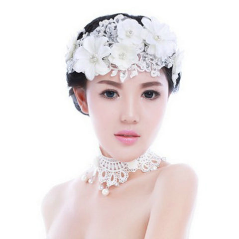 Romantic Wedding Hair Accessories For Bridal White Lace Flowers Crystal Pearl Headbands Headdress Women Tiara Hair Jewelry SL