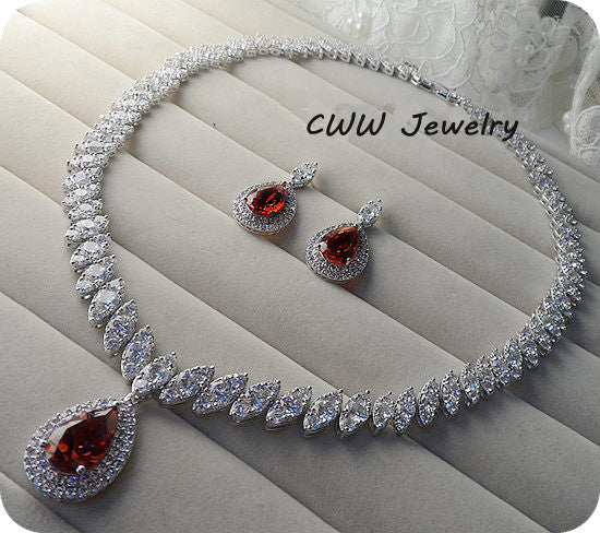 CWWZircons Nigerian Big Water Drop Cubic Zirconia Setting Red