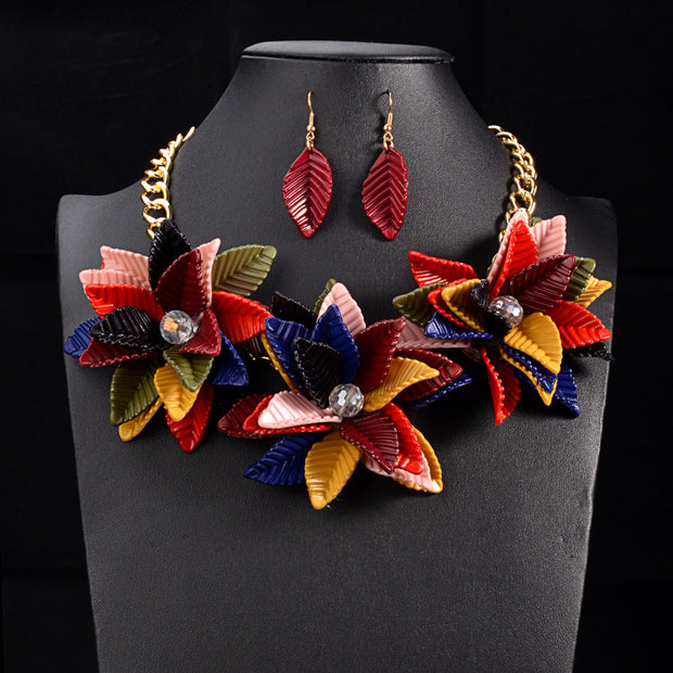Color Flower Necklace & Pendant Vintage Statement Choker Collar
