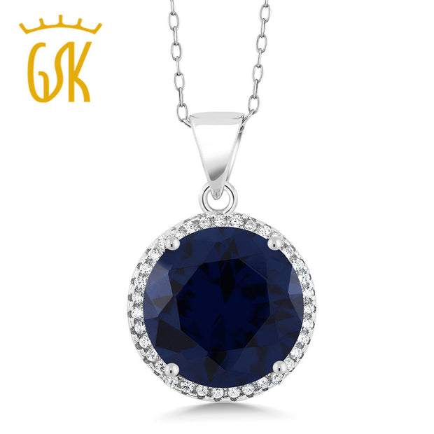 GemStoneKing 9.00 Ct Round Blue Sapphire  Pendant Necklace Solid 925