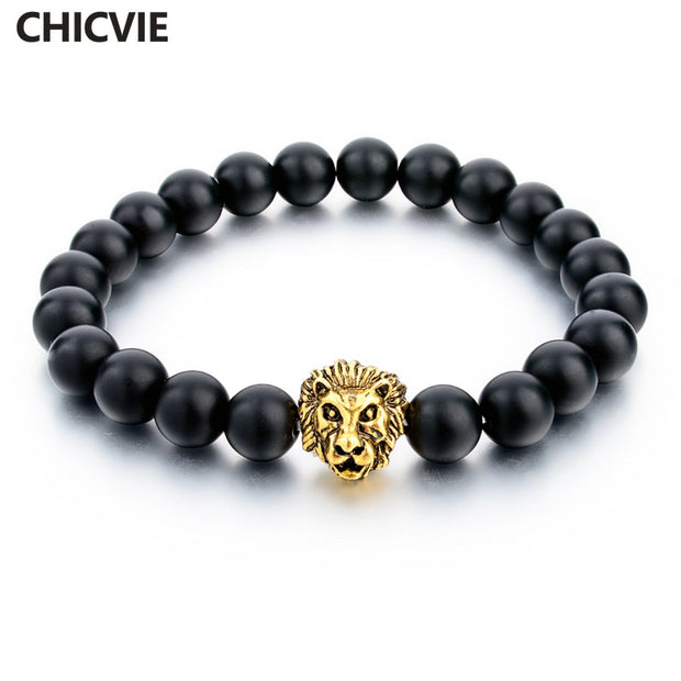 CHICVIE Natural Stone Gold Color Lion strand Bracelet Femme Beads