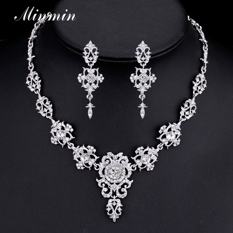Minmin Classic Crystal Bridal Jewelry Sets Silver/Gold-color Choker