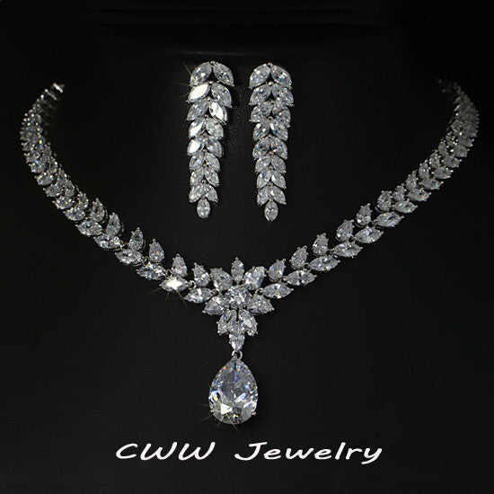 CWWZircons Luxury Bridal Costume Jewelry Big Teardrop Zirconia