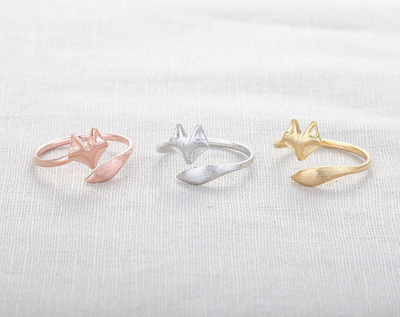 SMJEL 2017 New Fashion Cute Fire Fox Ring Adjustable Rings Animal