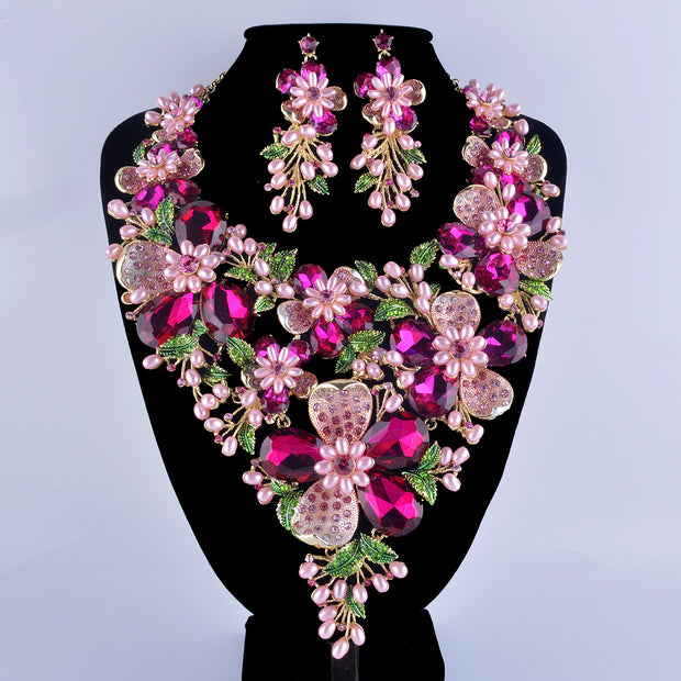 Fuchsia Rhinestone Golden Plated Flower Statement Necklace Set Pink
