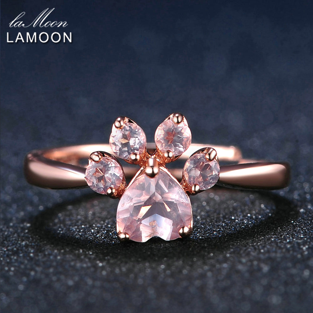 LAMOON Bear's Paw 5mm 100% Natural Pink Rose Quartz Ring 925