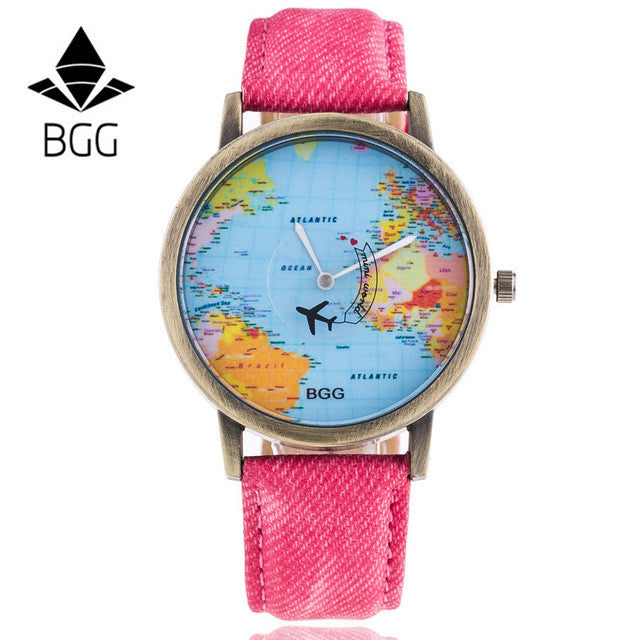 Copper Dial BGG Brand Watches Fabric Luxury Word Map The Plane