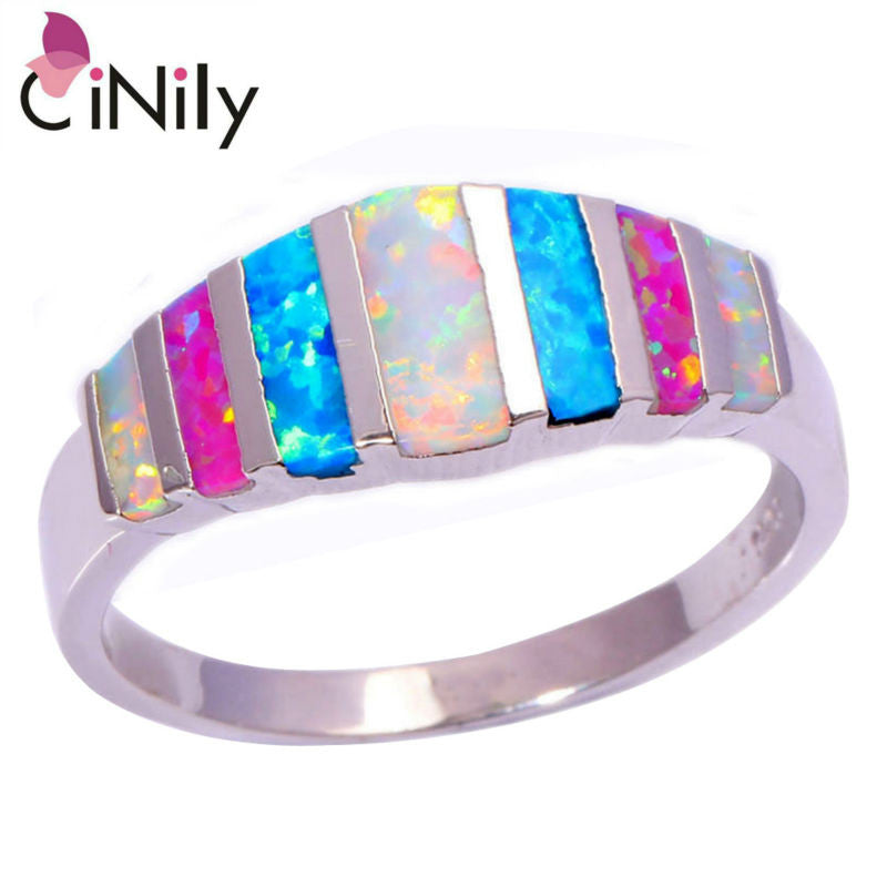 CiNily Created Pink Blue White Fire Opal Silver Plated HOT SELL