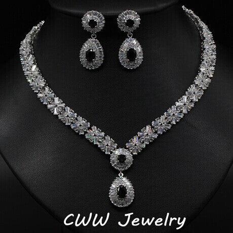 CWWZircons White Gold Color Luxury Bridal CZ Crystal Necklace and