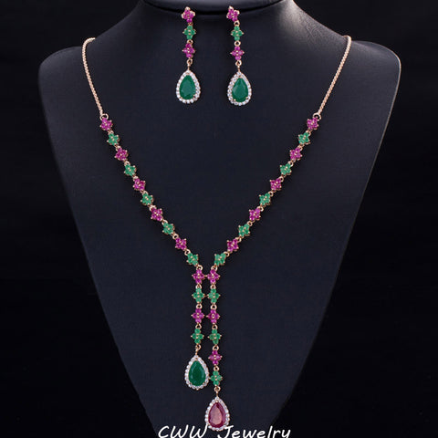 CWWZircons Beautiful Green And Red CZ Stone Jewelry 4 Leaf Long Drop Party Necklace Earrings Sets For Women T225