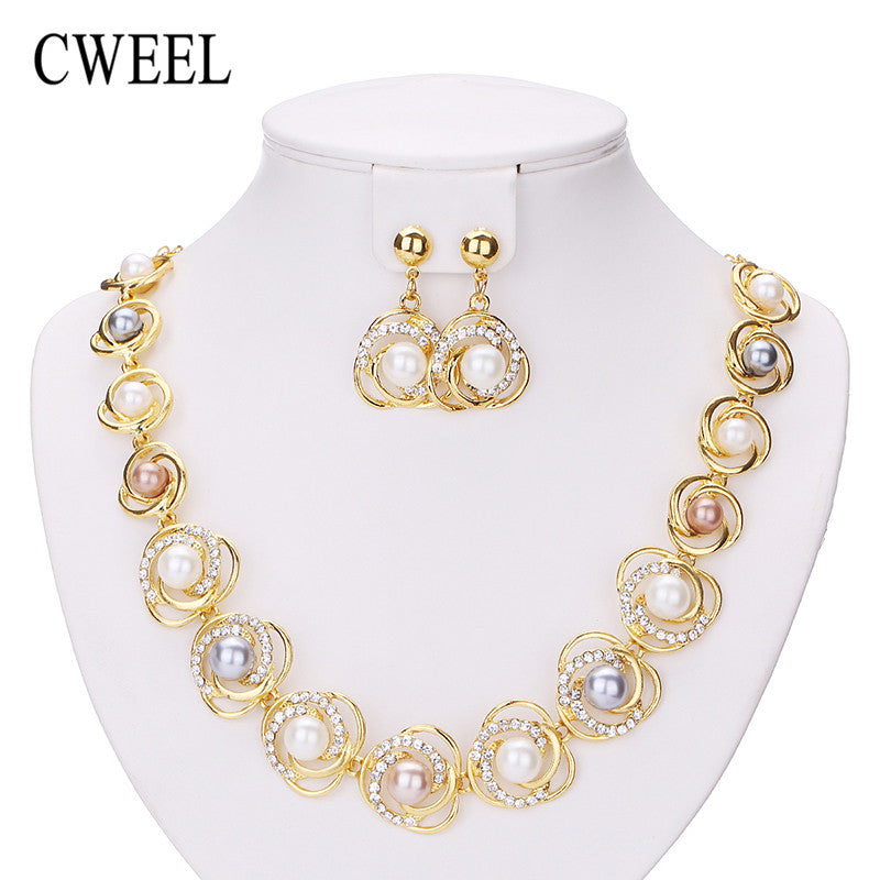 CWEEL Necklace Earrings Simulated Pearl Flower Jewelry Sets For