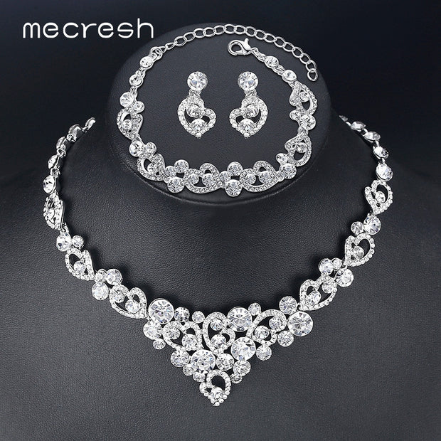 Mecresh Romantic Heart Crystal Wedding Jewelry Sets Silver Color