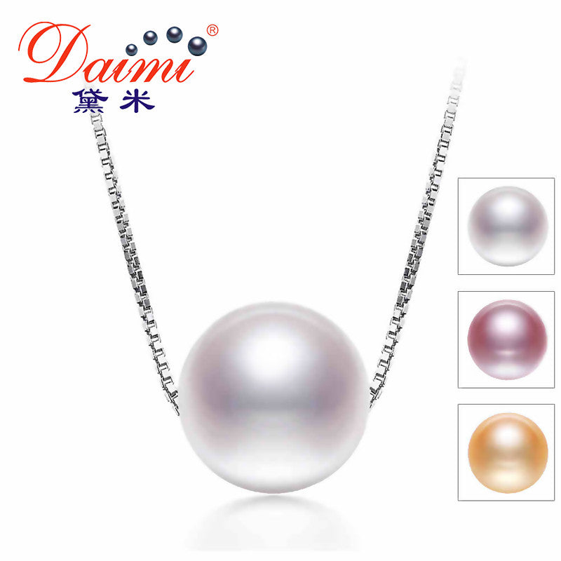 DAIMI Pearl Necklace, 925 Sterling Silver Chain Cultured Pearl