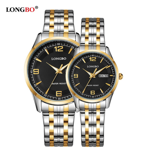 2017 Brand LONGBO Luxury Lovers' Couple Watches Men Waterproof