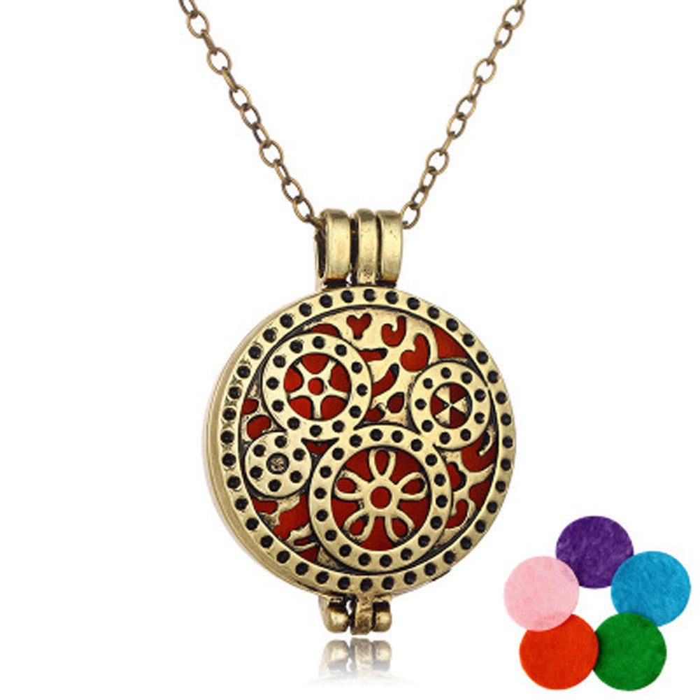 DIY Copper Essential Oil Diffuser Gear Pendant Necklace Perfume Long