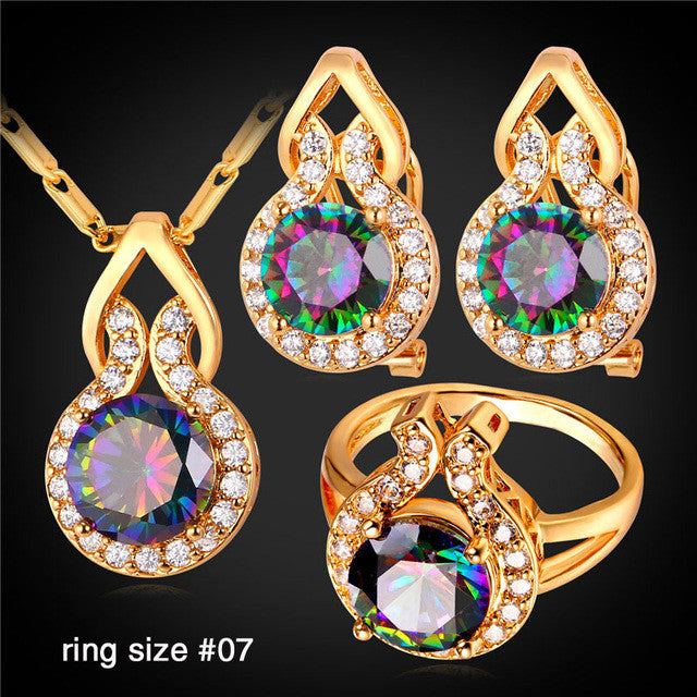 Cute Wedding Bridal Jewelry Set Women Trendy Synthetic Mystic