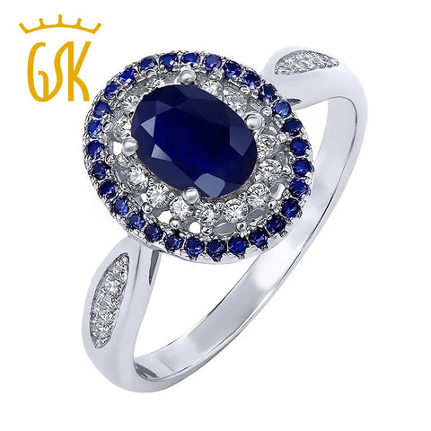 GemStoneKing 1.60 Ct Oval Blue Natural Sapphire Ring 925 Sterling