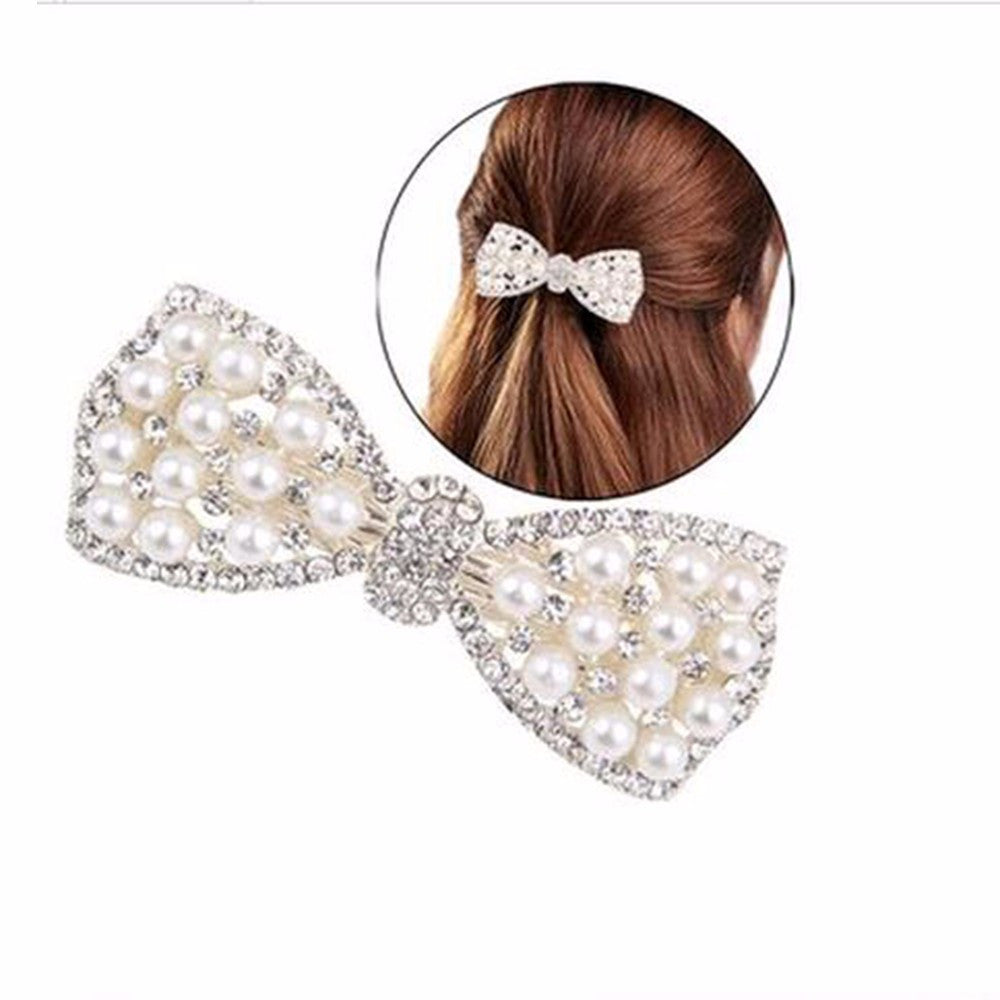 TOMTOSH Hot Sale Fashion Women Girls Crystal Rhinestone Bow Hair