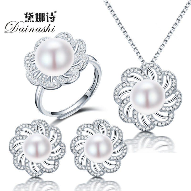 Dainashi new freshwater pearl jewelry sets with pearl necklace pearl
