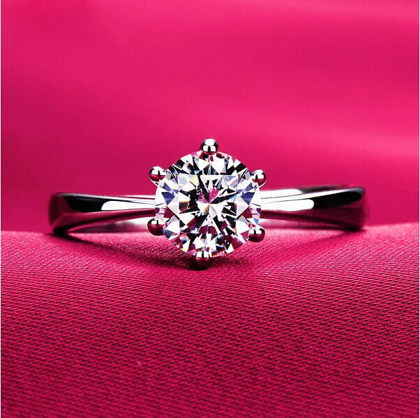 Round Ring Engagement Rings 6 Prongs Setting Cubic Zirconia Anel