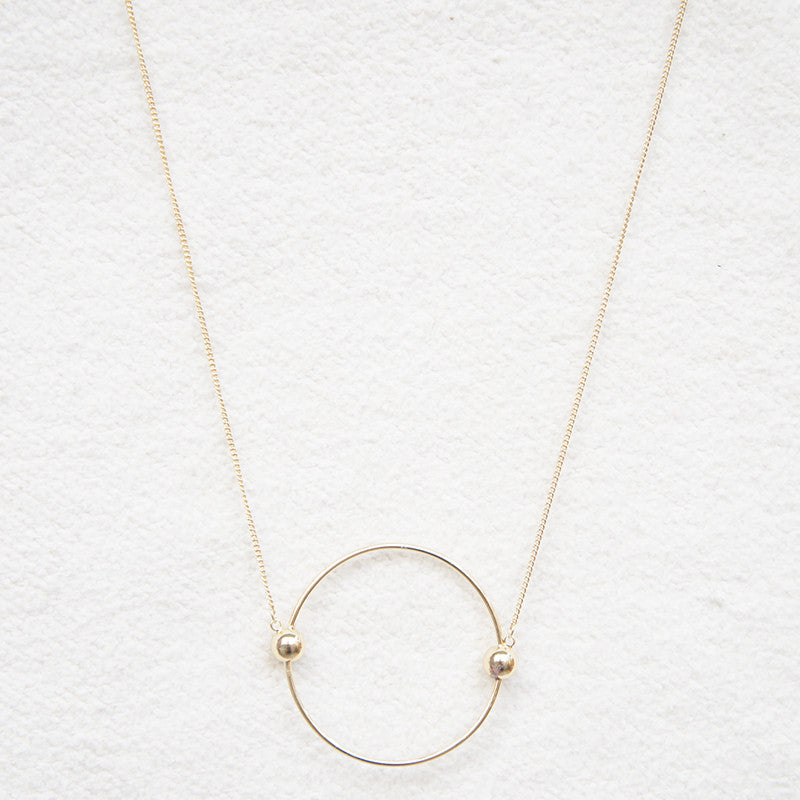 Contracted circle multicolor pendant decorative necklace Female long