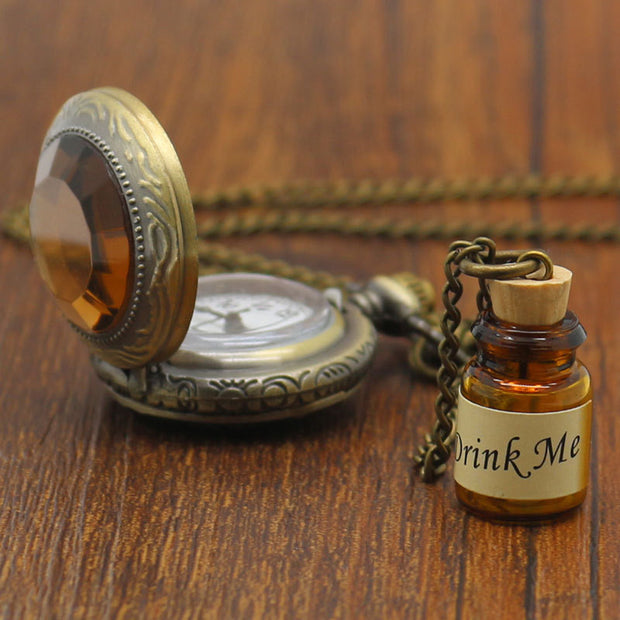 Small Pocket Watch Alice in Wonderland Drink Me Pendant with Bottle