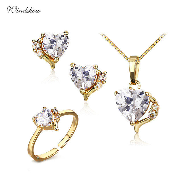 Cute Gold Color Lavendar Purple AAA CZ Heart CZ Ring Pendant