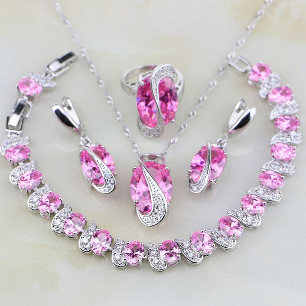 Round Pink Stones White CZ 4PCS 925 Sterling Silver Jewelry Sets For