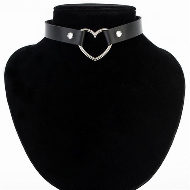 Hot Sale Fashion Sexy Punk Gothic Leather Choker necklace Heart