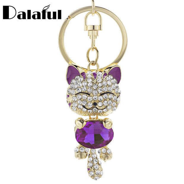 Cute Cat Crystal Rhinestone Keyrings Key Chains Rings Holder Purse Bag