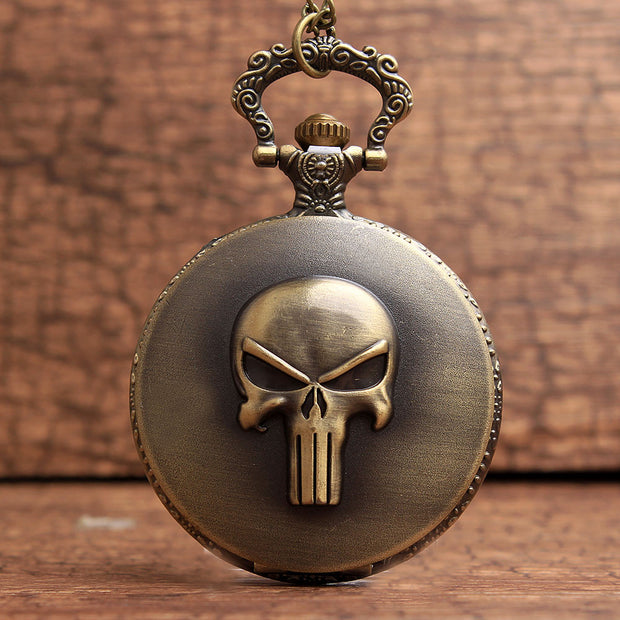 Vintage The Punisher Skull Dial Roman Numeral Quartz Pocket Watches