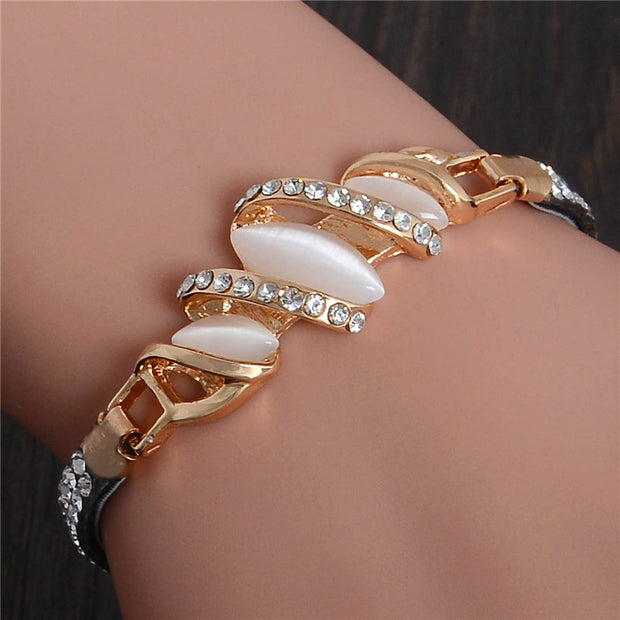 SHUANGR Charm Bracelet Leather Band with Austrian Crystal Gold Color